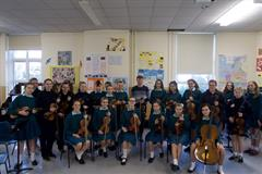 Mount Anville Orchestra String Section meet with Hugh Murray of the RTÉ Concert Orchestra