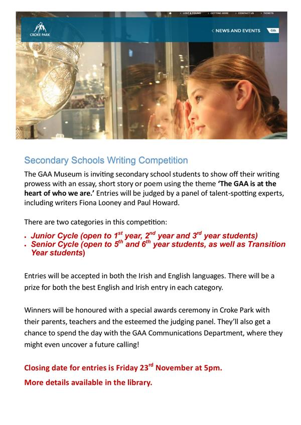 GAA Secondary Schools Writing Competition Deadline:23/11/18