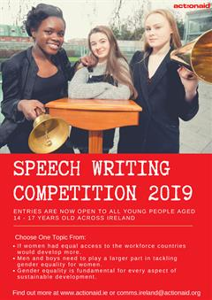 ActionAid Speech Writing Competition Deadline:18/01/19