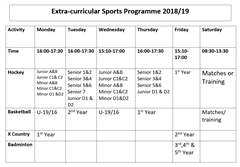 Extra Curricular Sports Timetable 2019/2020