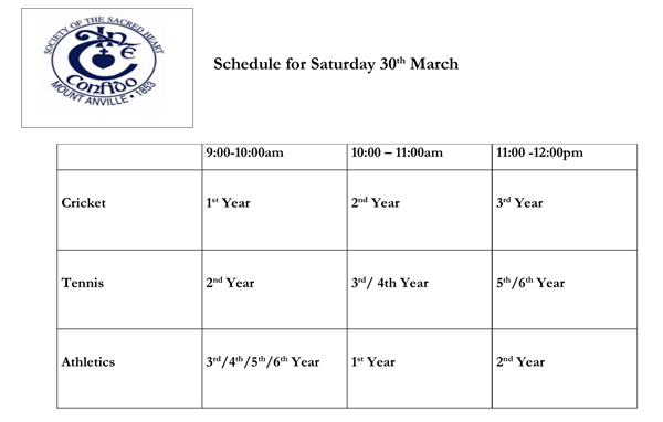 Summer Activities Saturday 30th March 2019